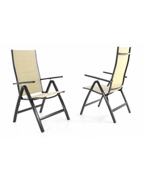 Sada dvou zahradních skládacích židlí DELUXE - krémová