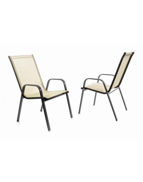 Zahradní sada 2 x stohovatelná židle balkonová - krémová