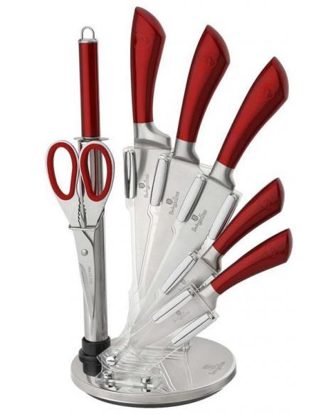 Sada nožů Berlingerhaus BH-2043 ve stojanu 8 ks nerez Metallic Line červená