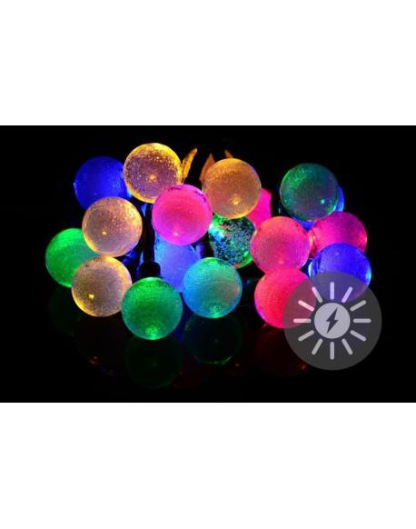 Solární světelný řetěz 20 LED barevné - blikající funkce