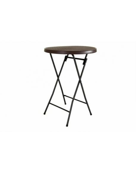 Zahradní barový stolek kulatý - ratanová optika 110 cm - hnědý