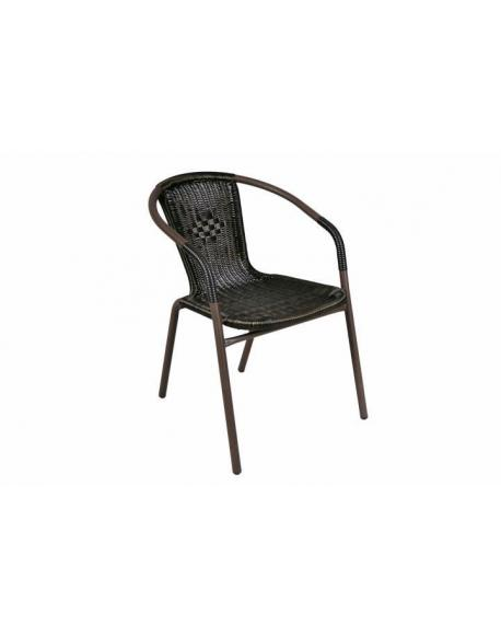 Zahradní ratanová židle Bistro - černá s hnědou strukturou