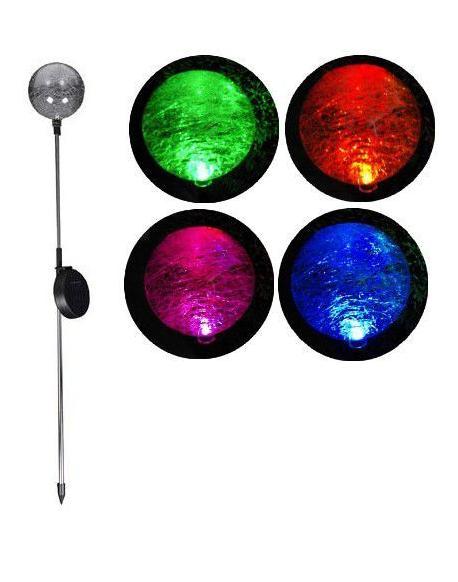 Zahradní LED solární lampa Garth skleněné koule se změnou barvy