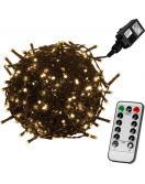 Vánoční LED osvětlení 40 m - teple bílá 400 LED + ovladač - zelený kabel
