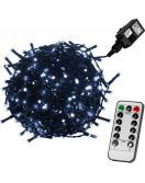 Vánoční LED osvětlení 20 m - studená bílá 200 LED + ovladač - zelený kabel