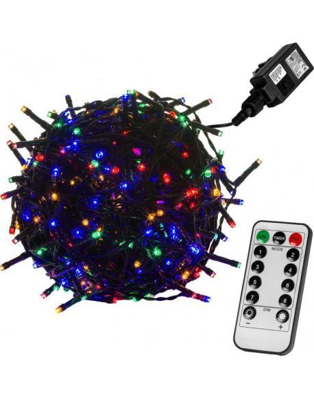 Vánoční LED osvětlení 20 m - barevná 200 LED + ovladač - zelený kabel