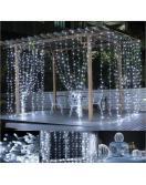Vánoční osvětlení - světelný závěs - 3x3 m studená bílá 300 LED