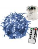 Vánoční LED osvětlení 10 m - studená bílá 100 LED + ovladač BATERIE