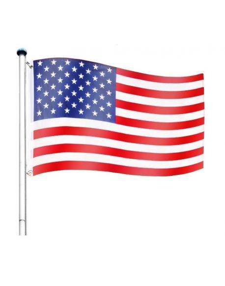 Vlajkový stožár vč. vlajky USA - 6,50 m
