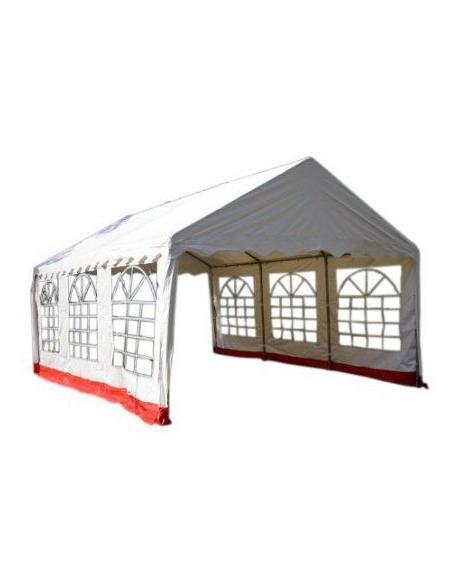 Zahradní stan - bílá / červená, 4 x 6 m
