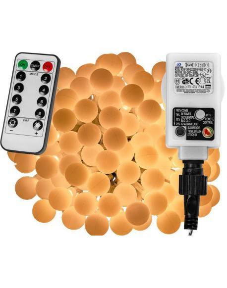 Párty LED osvětlení 10 m - teple bílá 100 diod + ovladač