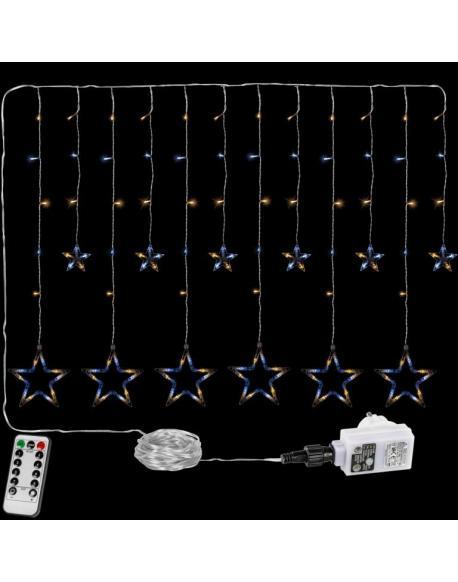 Vánoční řetěz - svítící hvězdy - 150 LED teplá/studená bílá