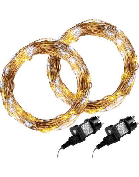 Sada 2 kusů světelných drátů 50 LED - teplá/studená bílá