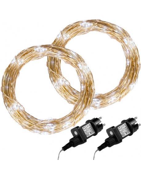 Sada 2 kusů světelných drátů 50 LED - studená bílá