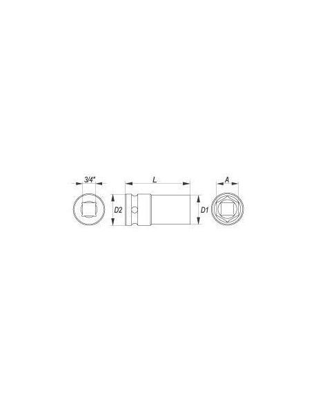 """Nástavec 3/4"""" rázový šestihranný hluboký 30 mm CrMo"""