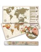 Stírací mapa světa v antik vintage stylu - 100 x 45 cm