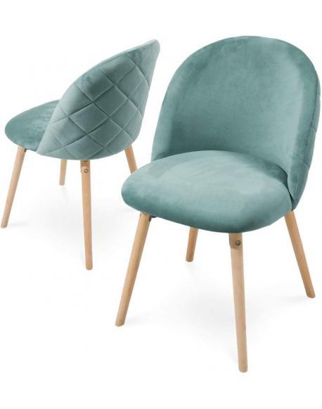 Sada jídelních židlí sametové, tyrkysové, 2 ks
