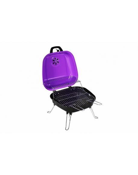Kufříkový gril na dřevěné uhlí Gart, fialový