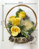 Velký květinový koš, žlutý