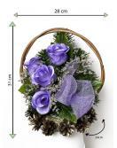 Velký květinový koš, modrý