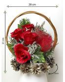 Velký květinový koš, červený