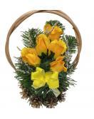 Květinový košík střední velikosti, oranžovo-zelený