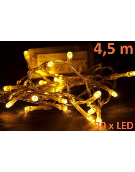 Vánoční LED osvětlení 4,5 m - teple bílé, 30 diod