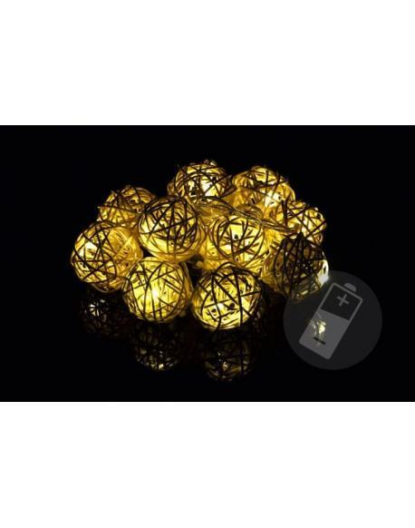 Vánoční dekorace - 10 ks světelných koulí - teple bílá, 10 LED diod