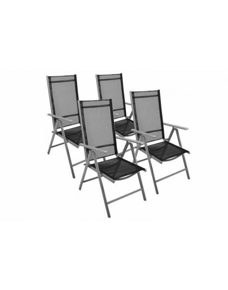 Zahradní sada 4 skládací židle GARTHEN - černá