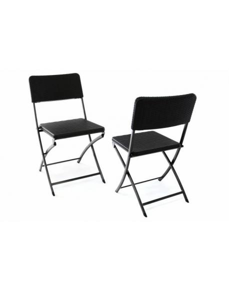 Sada 2 skládacích polyratanových židlí 80 x 40 cm